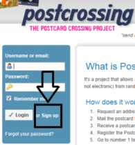 Postcrossing sign up